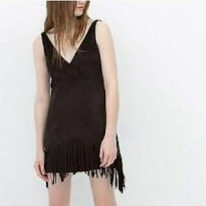 Zara Dress Sleeveless Fringe Hem Boho Faux Suede